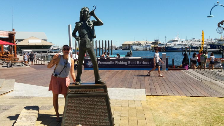 Bon Scott standbeeld in Fremantle