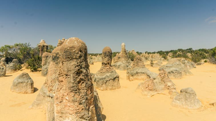 De pinnacles Desert, De Pinnacles Woestijn ten noorden van Perth