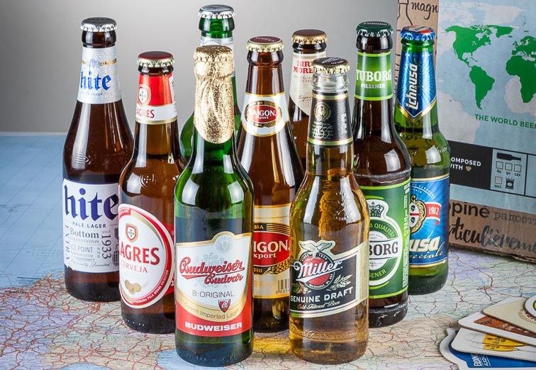Cadeaus voor mannen. Internationaal bierpakket